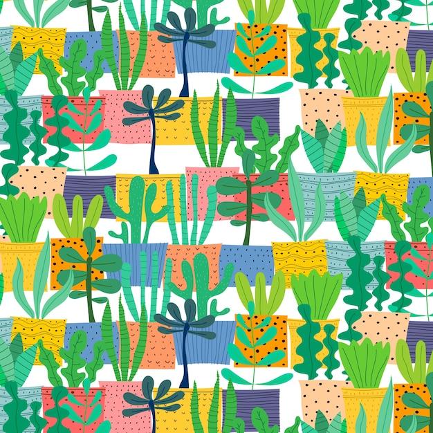 ポットの手で描かれた植物のパターン。 Premiumベクター