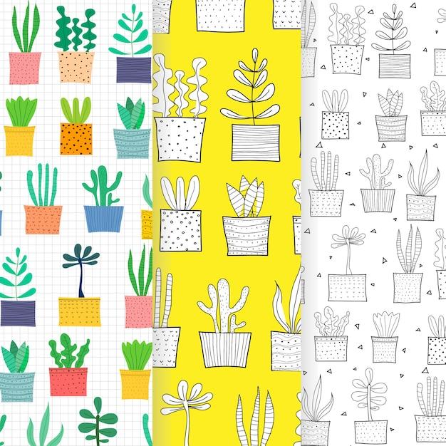 手描きのトロピカルサボテンのパターンの背景のセット。 Premiumベクター