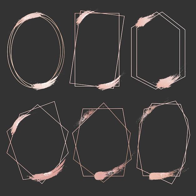 幾何学的なピンクゴールドのフレームのセット。 Premiumベクター