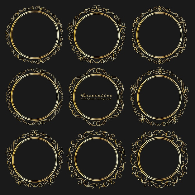 Набор декоративных круглых рамок винтажном стиле. Premium векторы