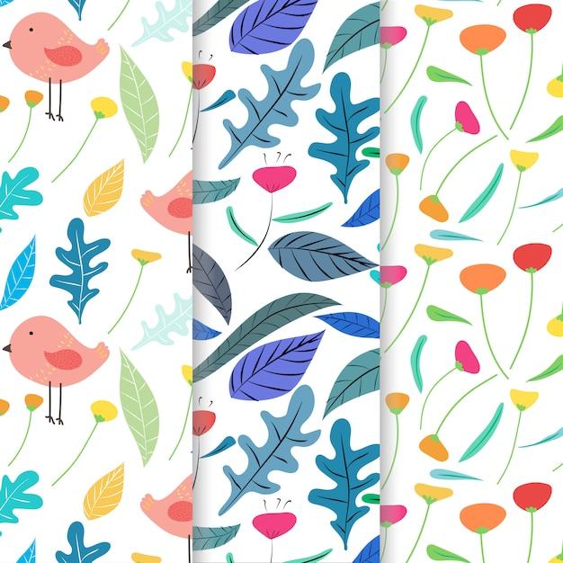 手描きのかわいい鳥と花柄の背景のセットです。 Premiumベクター