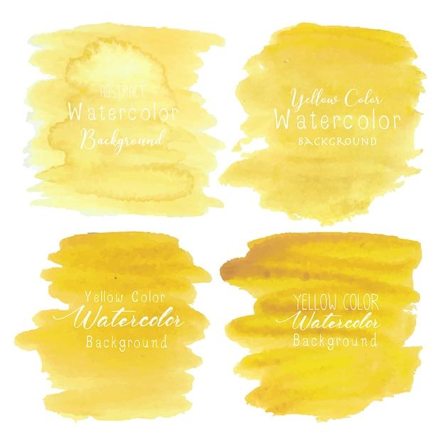 黄色の抽象的な水彩画の背景 Premiumベクター