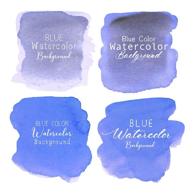 青の抽象的な水彩画の背景。カードの水彩画の要素。 Premiumベクター
