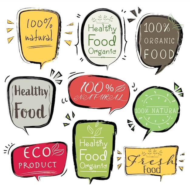 バナーエコ製品、自然、完全菜食主義者、有機、新鮮な健康的な食品のセットです。 Premiumベクター
