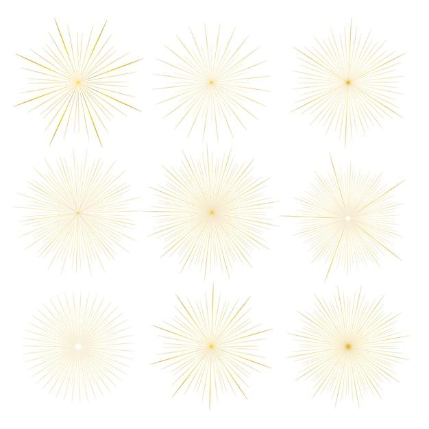 黄金のサンバーストスタイルの白い背景で隔離のセットです。 Premiumベクター