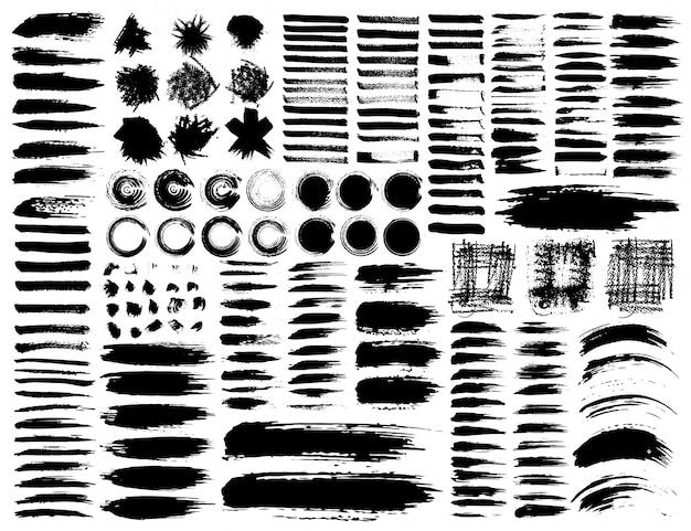 ブラシストローク、黒インクグランジブラシストロークのセット。ベクトルイラスト Premiumベクター