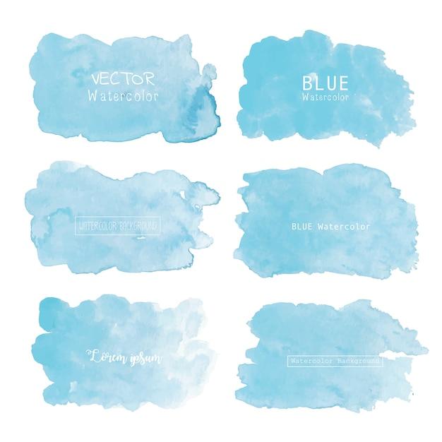 青い水彩背景、パステルカラーの水彩ロゴ Premiumベクター