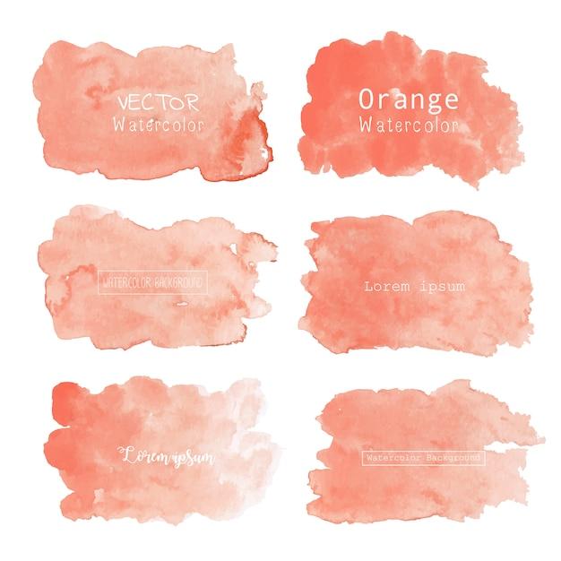 Оранжевый акварельный фон, пастельный акварельный логотип Premium векторы