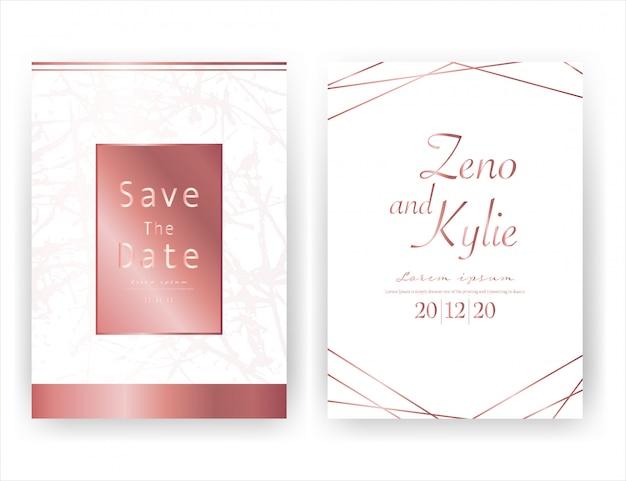 結婚式の招待カード、日付の結婚式のカードを保存 Premiumベクター