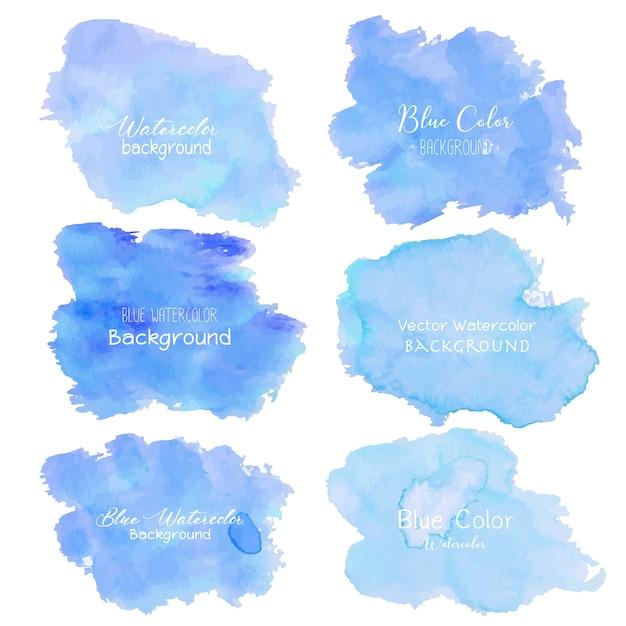 Синий абстрактный фон акварелью. Premium векторы