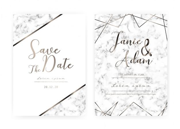 大理石の結婚式の招待カードテンプレート、日付の結婚式のカード、大理石の質感を持つモダンなカードデザインを保存します。 Premiumベクター