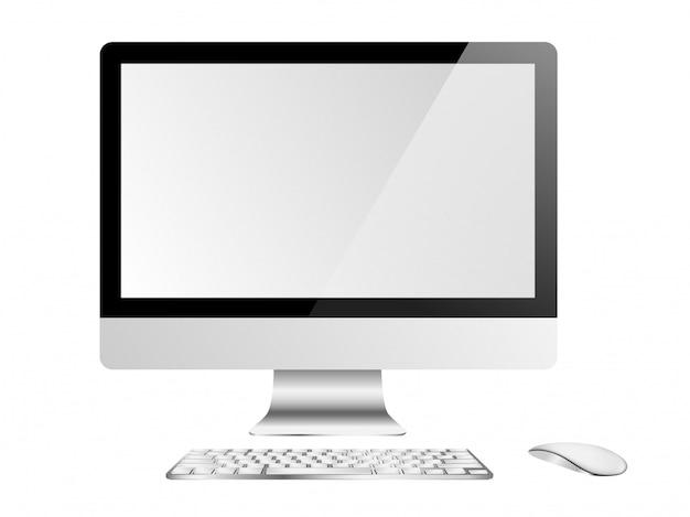 コンピューターのディスプレイ、キーボード、白い背景の上のマウス Premiumベクター