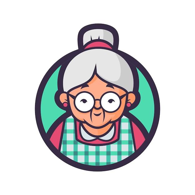 ポポの眼鏡キッチンバッジバージョン Premiumベクター