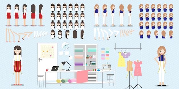 ファッション・デザイナーの仕事との漫画のキャラクターのセット Premiumベクター