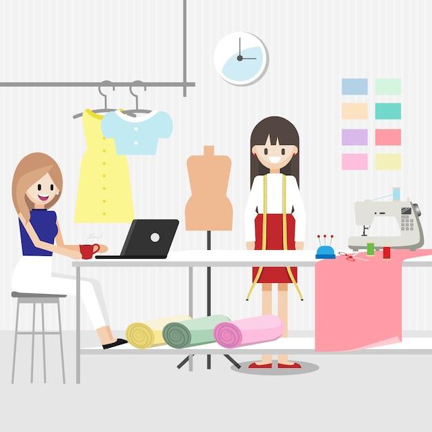 ファッション・デザイナーの仕事を持つ漫画のキャラクター Premiumベクター