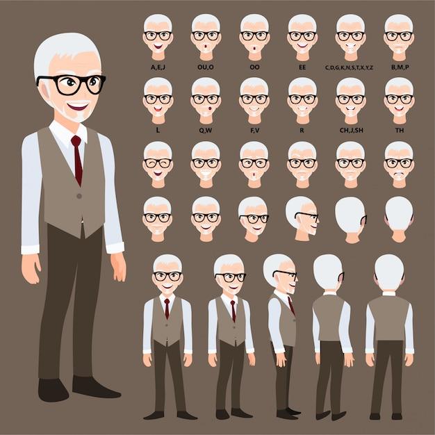 アニメのスーツのビジネスマンと漫画のキャラクター。 Premiumベクター