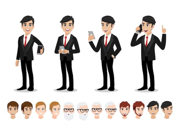 実業家漫画のキャラクターセット。オフィススタイルのスマートスーツでハンサムな実業家。 Premiumベクター