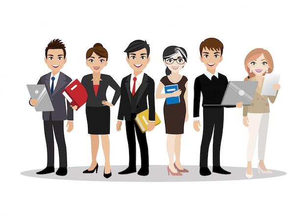 ビジネスの男性とビジネスの女性、チームワークの漫画のキャラクター。平らな 。 Premiumベクター