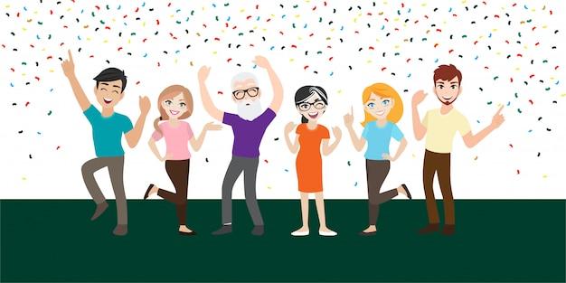 幸せな人と漫画のキャラクターは、重要なイベントやパーティーを祝います。うれしそうな感情。 Premiumベクター