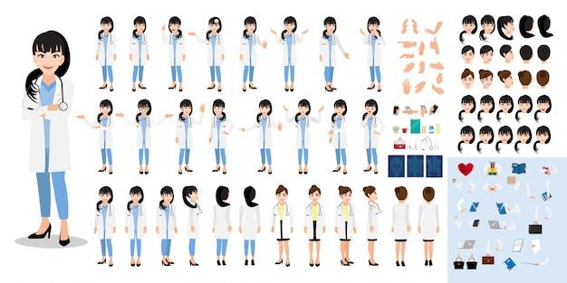 女性医師の漫画のキャラクターセット Premiumベクター