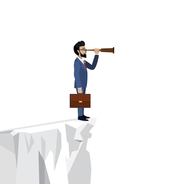 Концепция лидерства. бизнесмен, глядя через подзорная труба на фоне белой скалы Premium векторы