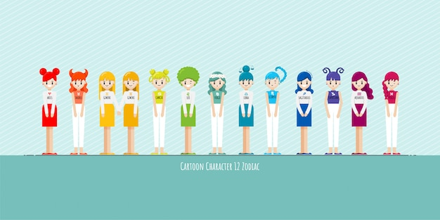 漫画のキャラクターの黄道帯の女の子のセット Premiumベクター