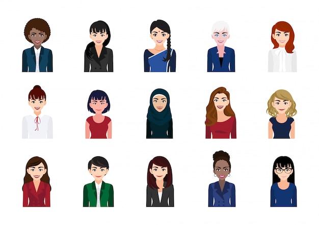 Набор сбора портрета персонажа из мультфильма деловой женщины. красивая деловая женщина в офисном стиле Premium векторы