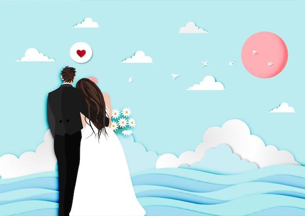 結婚されていたカップルと夕日を見て背景ベクトルとバレンタインデーフェスティバルのペーパーアート Premiumベクター