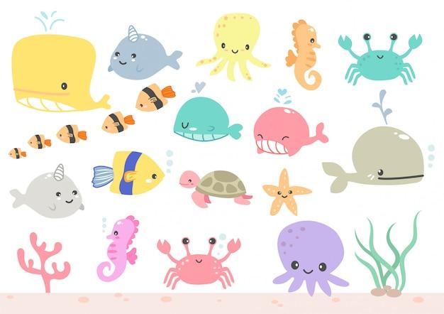 海の円のかわいいベクターセットアイコンまたは水族館の動物セット Premiumベクター