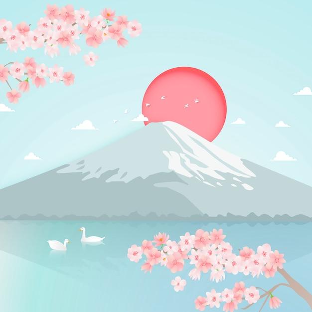 富士山背景ベクトルの紙アート Premiumベクター