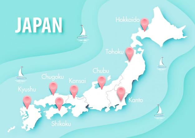 Бумажное искусство карты японии на синем фоне океана вектор Premium векторы
