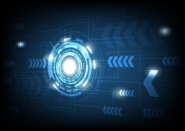 青い電子サイクルの背景を持つベクトル円と電気線 Premiumベクター