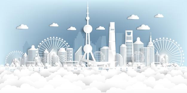 Панорама открытки и путешествия плакат всемирно известных достопримечательностей в стиле бумаги вырезать Premium векторы