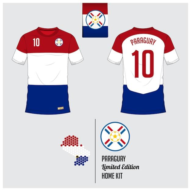 パラグアイサッカーユニフォームまたはフットボールキットのテンプレート Premiumベクター