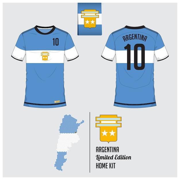 アルゼンチンサッカーユニフォームまたはサッカーキットのテンプレート Premiumベクター