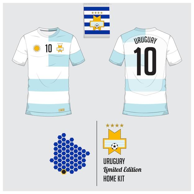 ウルグアイサッカーユニフォームまたはサッカーキットのテンプレート Premiumベクター