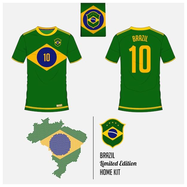 ブラジルサッカージャージーまたはフットボールキットのテンプレート Premiumベクター