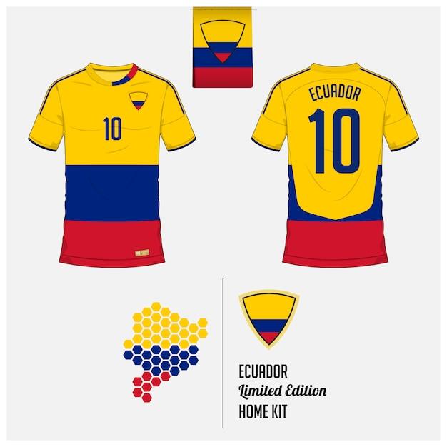 エクアドルサッカーユニフォームまたはサッカーキットのテンプレート Premiumベクター