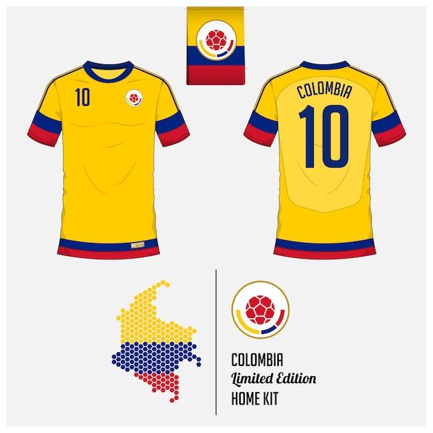コロンビアサッカージャージーまたはフットボールキットのテンプレート Premiumベクター
