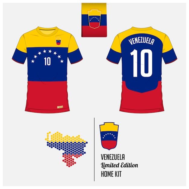 ベネズエラサッカージャージーまたはフットボールキットのテンプレート Premiumベクター