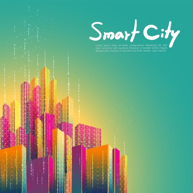 Умный город, связь, сеть, связь. футуристический красочный дизайн фона Premium векторы