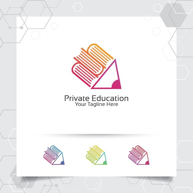 図書館のための鉛筆アイコンのシンボルと本のロゴのベクトルのデザイン Premiumベクター