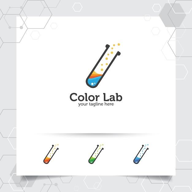 実験室または実験室のロゴ Premiumベクター