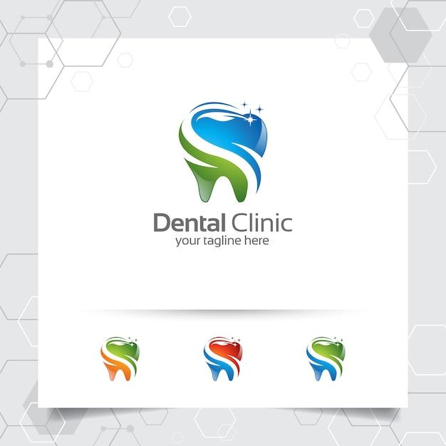 歯科医のための現代のカラフルなコンセプトと歯科のロゴデザインベクトル。 Premiumベクター