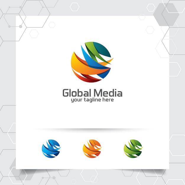 球とデジタルシンボルアイコン上の矢印で抽象的なグローバルロゴベクトルデザイン。 Premiumベクター