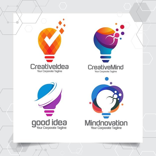 コレクションの電球のロゴのテンプレートのアイデアデザインコンセプトを設定します。 Premiumベクター