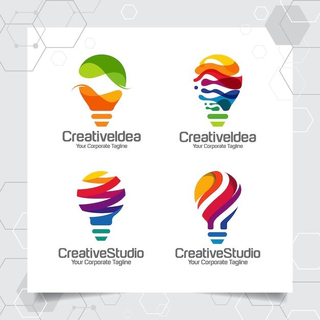 コレクションの電球のロゴのテンプレートのアイデアデザインを設定します。 Premiumベクター