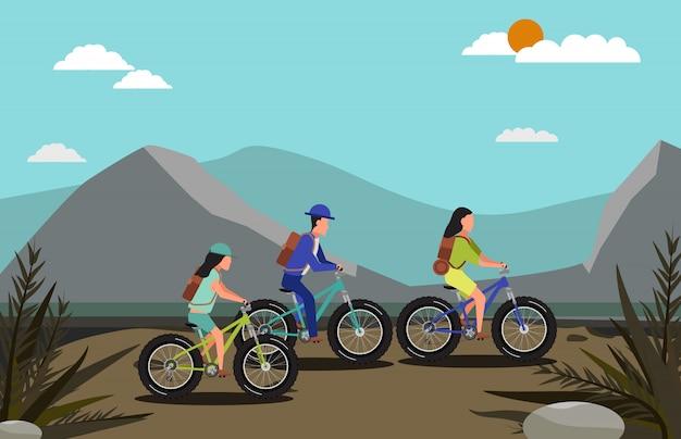 マウンテンバイクと自然のシーンに乗る人々のグループ Premiumベクター