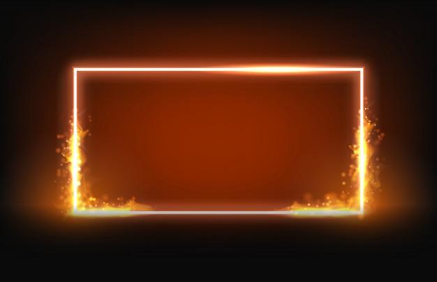 火と煙の要素を持つ輝くネオン正方形フレーム Premiumベクター