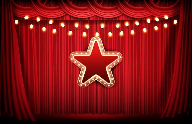Абстрактный фон красный занавес и яркая неоновая звезда Premium векторы